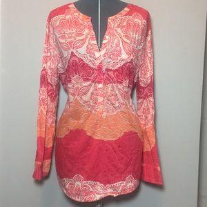 Lands End pink & orange patterned tunic plus size